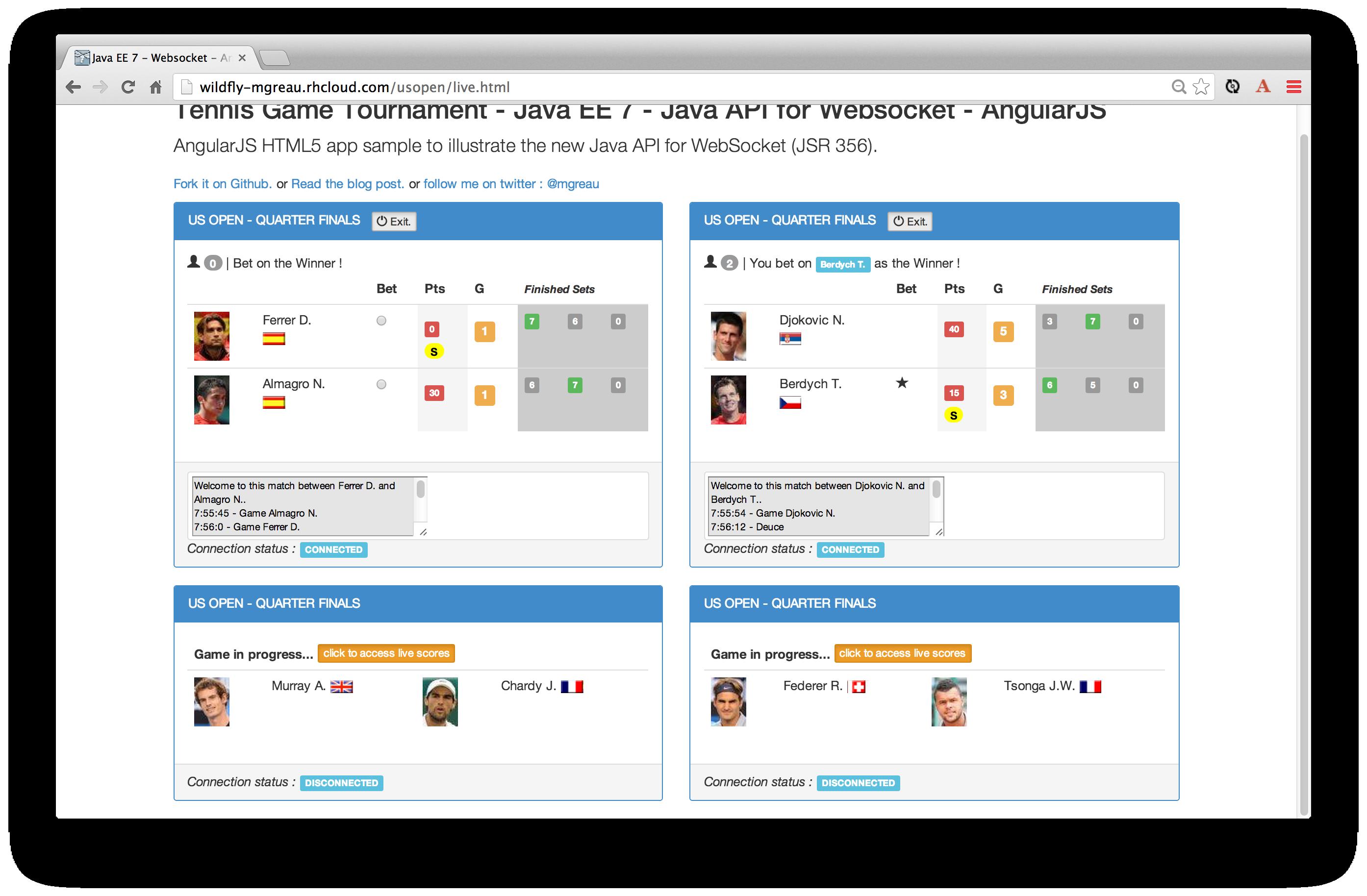 Implementation of WebSocket (Java API et Javascript API)